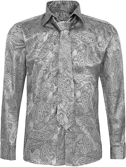 TALLA 3XL. Conjunto de camisa y corbata de algodón casual de manga larga para hombre