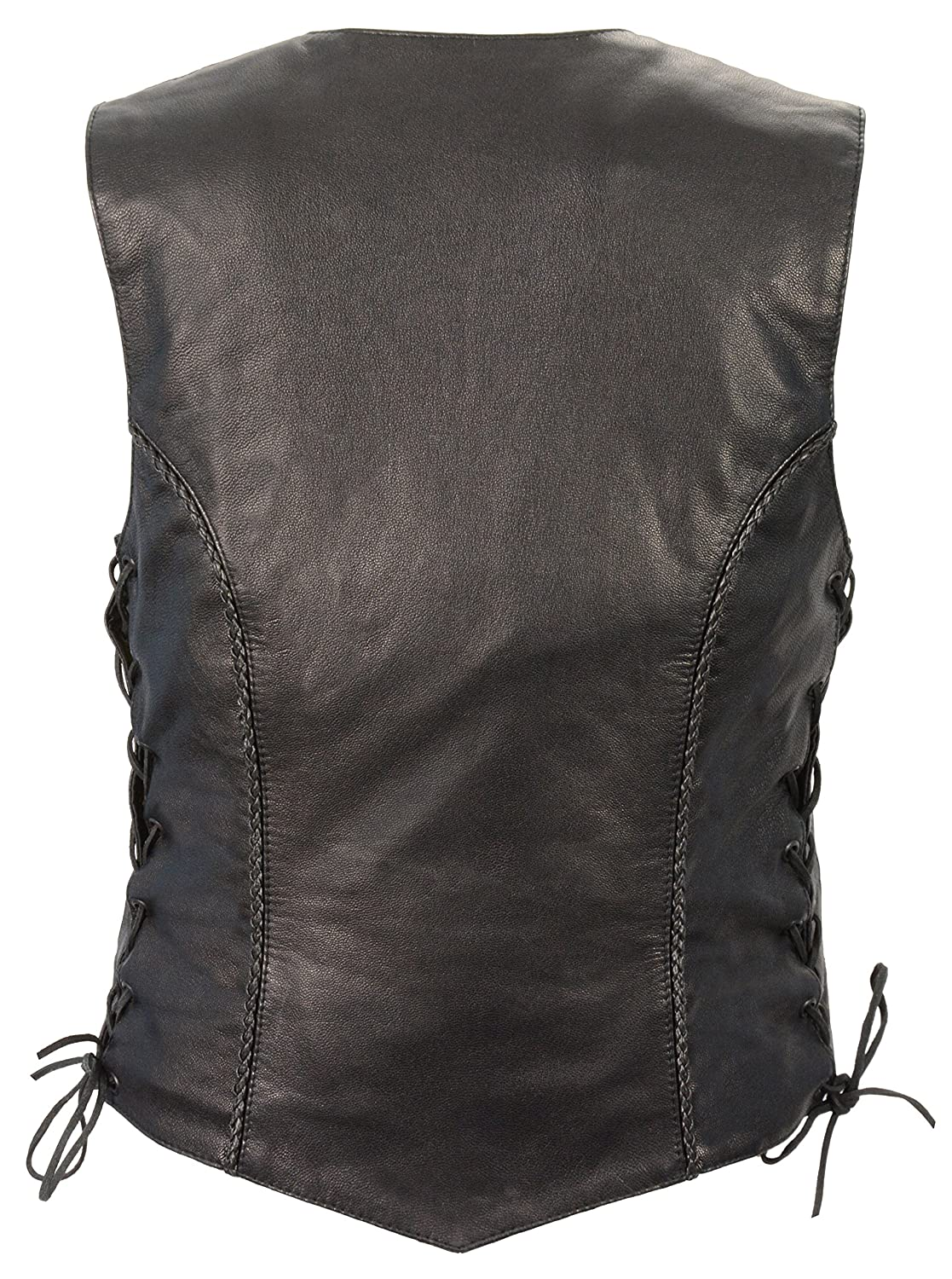 S Front Snaps, Braided O Milwaukee Leather Womens Braided Vest Black, Medium