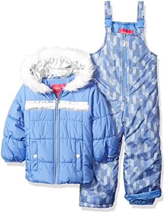 0300f7dd2 London Fog Girls' Toddler Snowsuit with Snowbib and Puffer Jacket, Lavender  Blue Periwinkle,