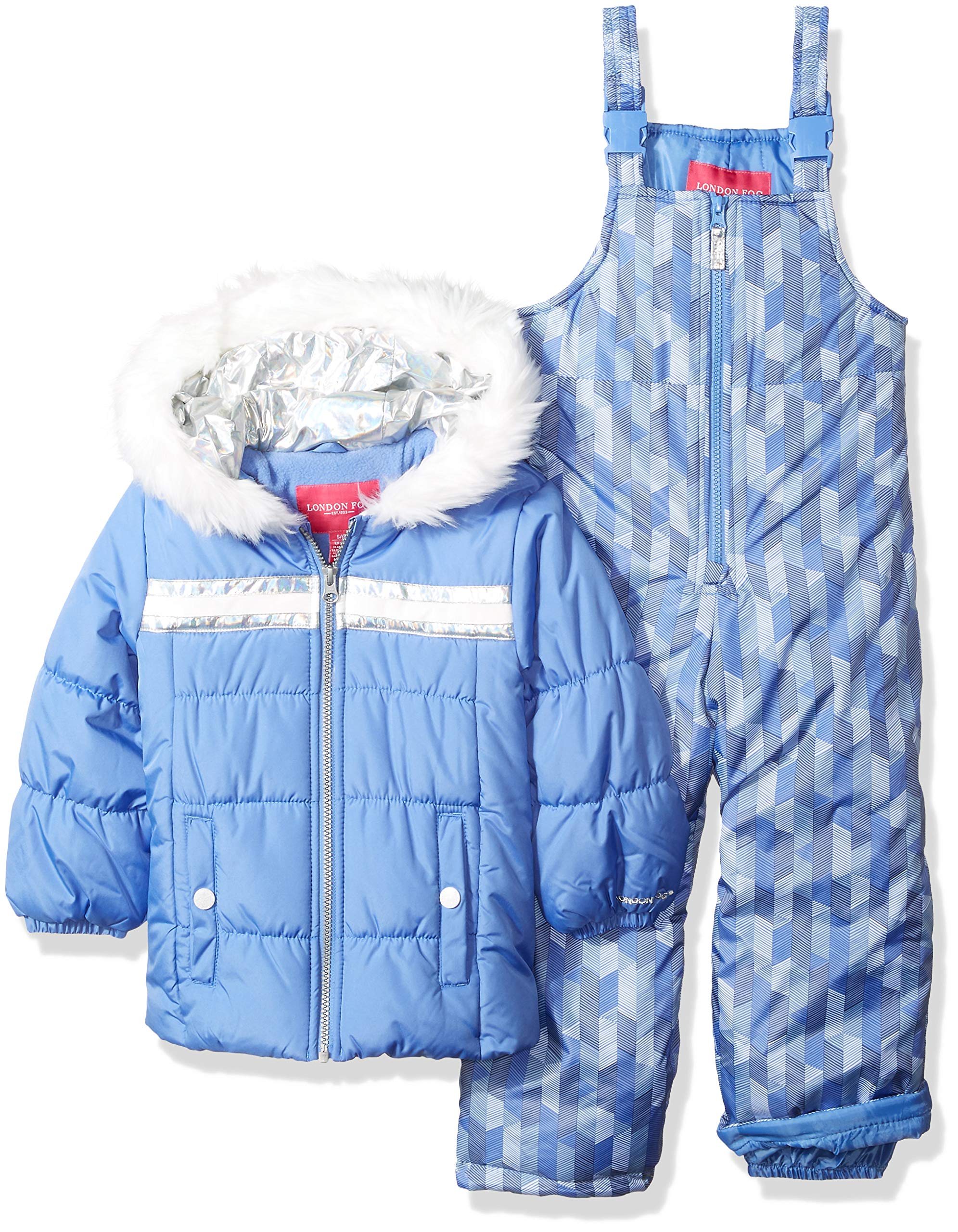 London Fog Girls' Little' Snowsuit with Snowbib and Puffer Jacket, Lavender Blue Periwinkle, 5/6 by London Fog (Image #1)