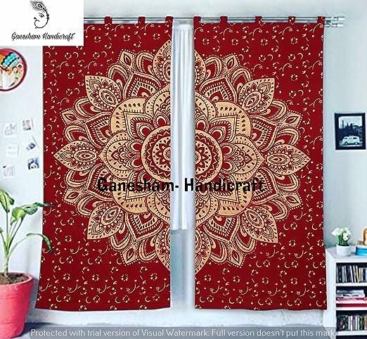 Red Gold Ombre Mandala Tapestry Curtain Indian 2 Valances Drape Panel Boho Decor