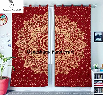 Amazon Com Red Gold Home Decor Window Treatment Indian Drapes