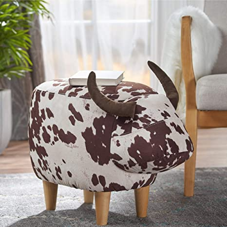 Swell Amazon Com Childrens Cow Ottomans Natural White Brown Gmtry Best Dining Table And Chair Ideas Images Gmtryco