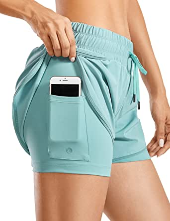 CRZ YOGA Running Shorts Women Sport Shorts with Liner 2 in 1 Athletic Shorts with Zip Pocket- 3 inches