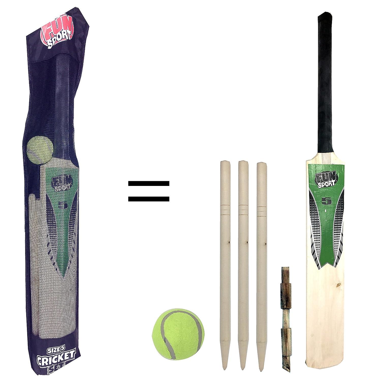 Laeto Toys - Set de críquet, tamaño 5,para niños, incluye bate, pelota de tenis, 3 travesaños y palos, ideal para que los niños jueguen al aire libre tamaño 5 para niños 3 travesaños y palos