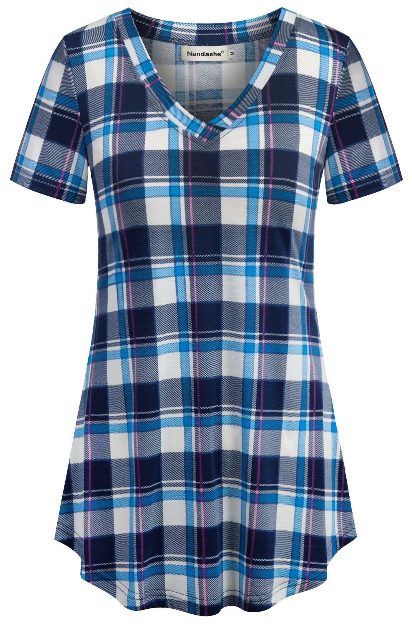 Nandashe T Shirts for Women, Old Lady Deep V Neck Comfy Fashionable Plain Simple Stretch Loose Slouchy Soft Basic Curved Hem Smooth Chic Style Gingham Tee Shirts Medium Light Blue Size 8