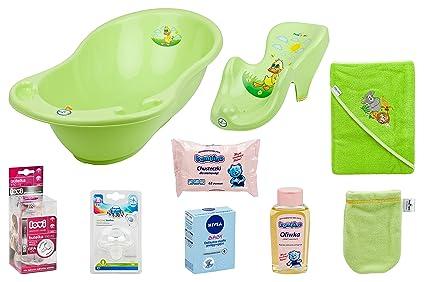 tega Baby grande Set de baño bañera Asiento de baño toalla con capucha babyöl uvm Lime