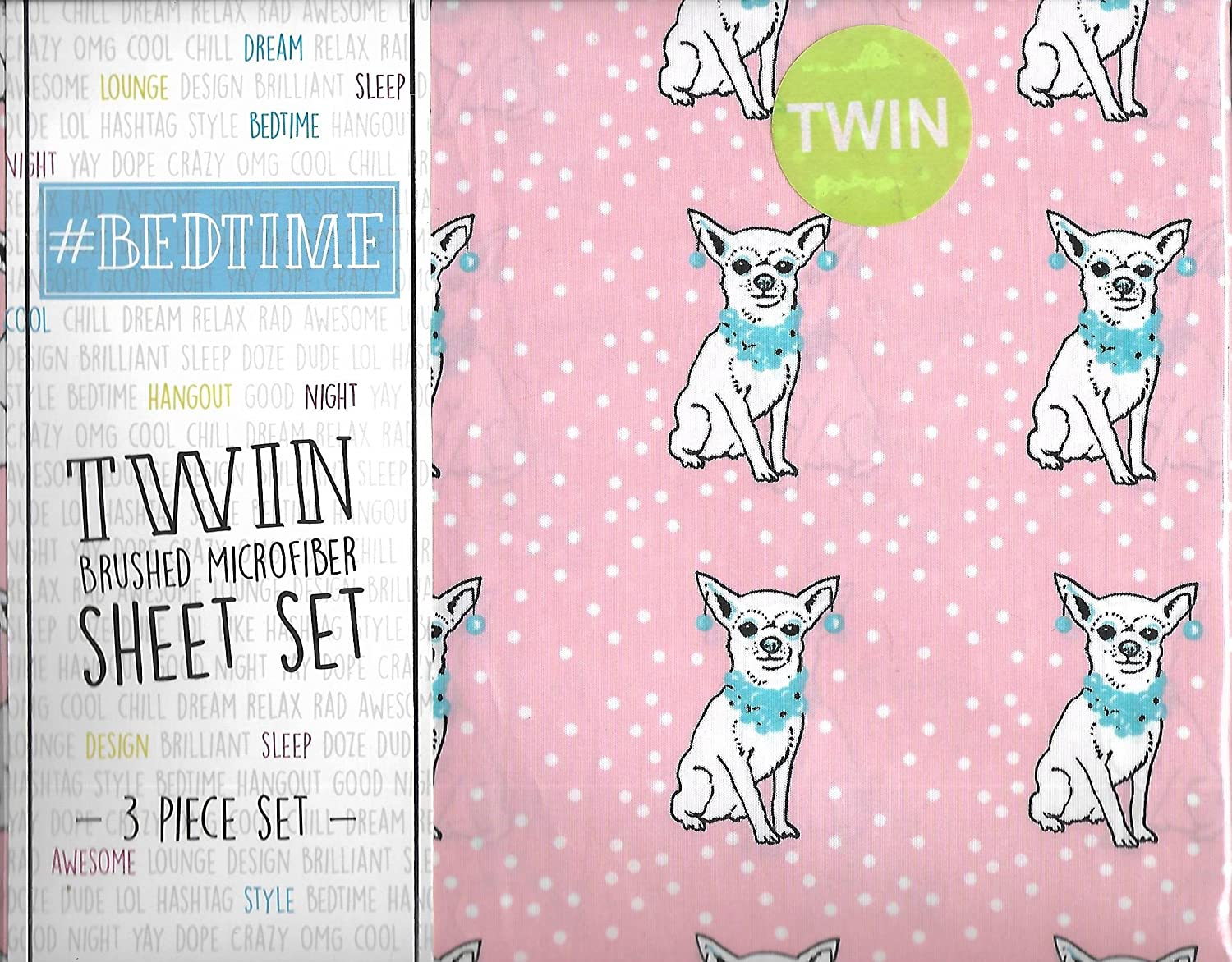 #Bedtime Pink Polka Dot Girly Chihuahua Dog Theme 3 Piece Twin Sheet Set