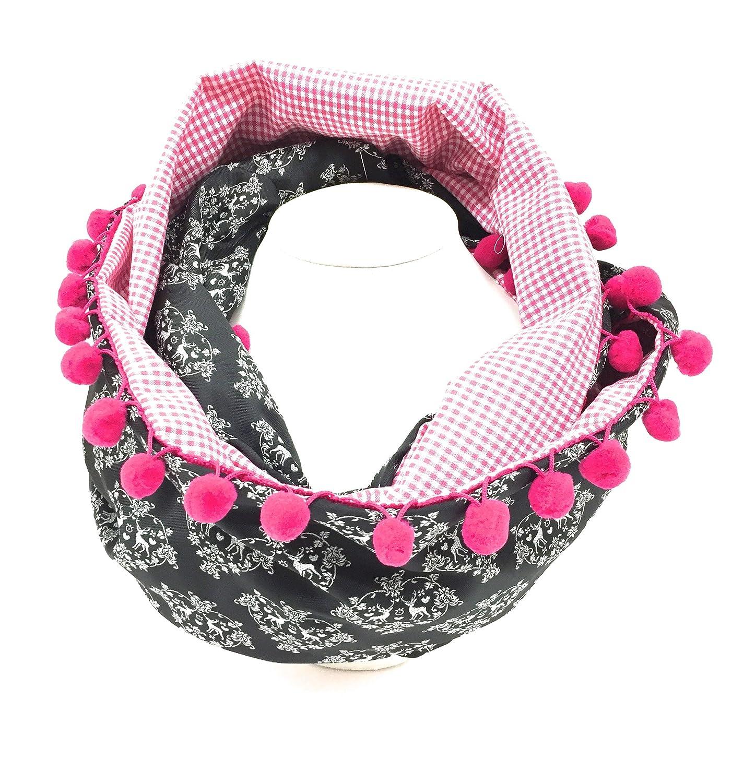 Trachtenschal Trachtentuch Loopschal Halstuch pink schwarz Hirsch Dirndl Moda Bavarica