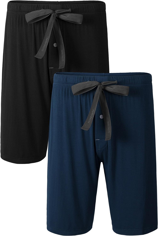 Genuwin Mens Bamboo Rayon Sleep Shorts with Button Fly Drawstring 2 Pack Pajama Bottoms Sleep Bottoms S~XL
