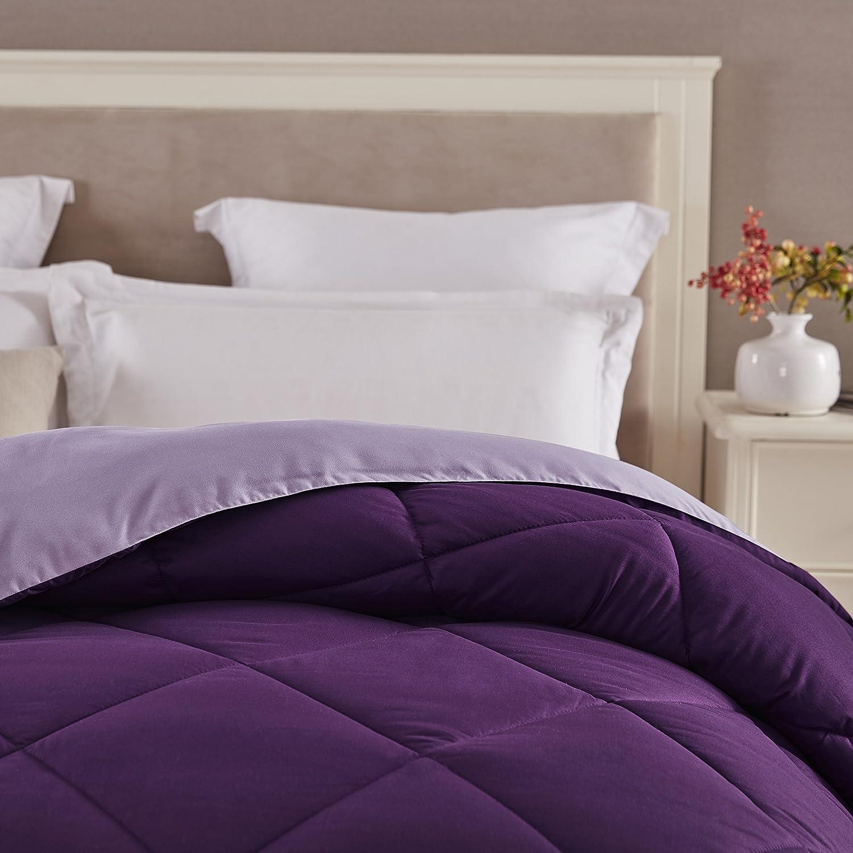 Seward Park Solid, Reversible Color Microfiber Comforter, Hypoallergenic Plush Microfiber Fill, Duvet Insert or Stand-Alone Comforter, Fall/Winter Blanket, Full/Queen, Plum/Purple