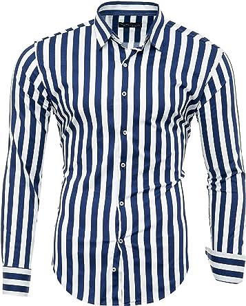 Kayhan Camisas Hombres Camisa Hombre Manga Larga Ropa Camisas de Vestir Slim fácil de Hierro Fit SML XL XXL-6XL - Rayas