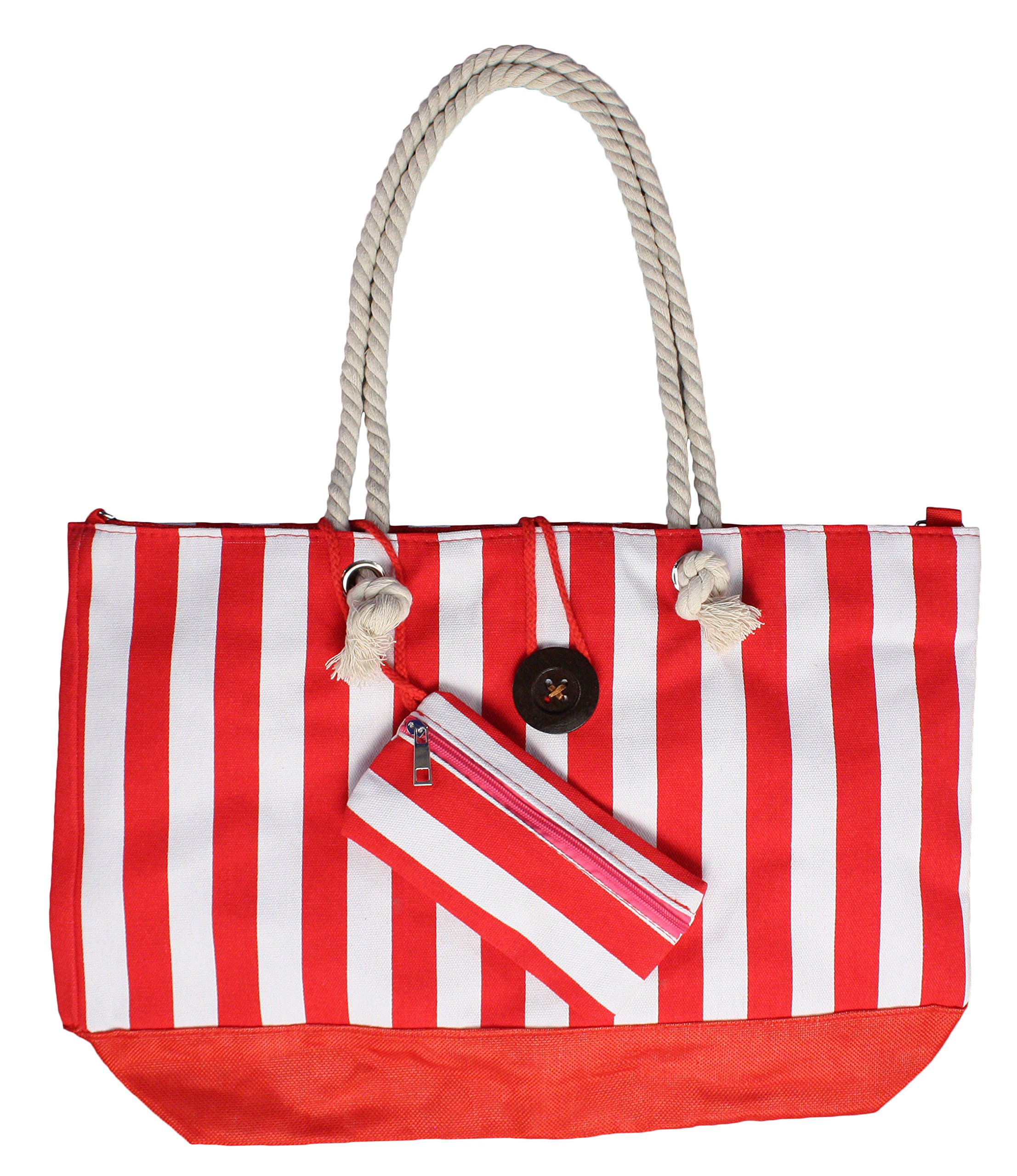 Heavy Duty Canvas Beach Bag Large Tote with Inner Lining - Red/White