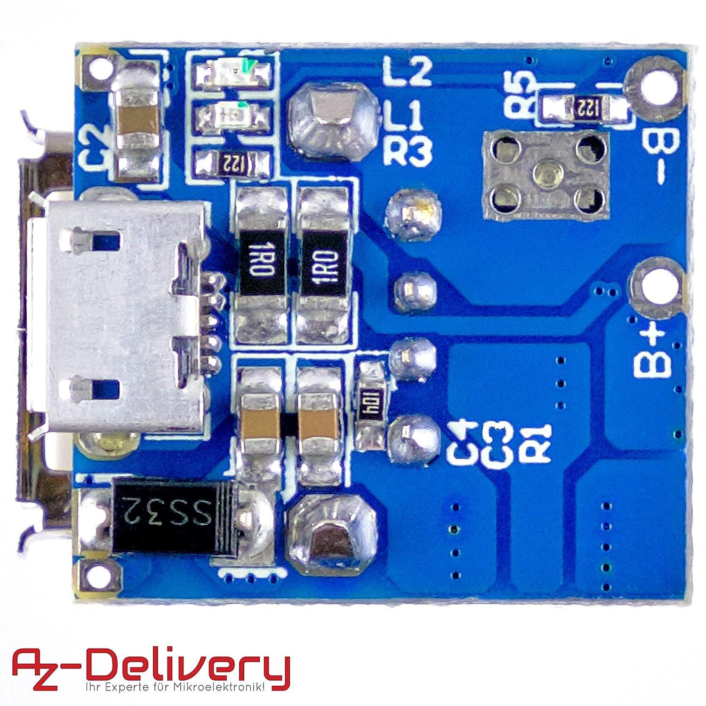 AZDelivery 5 x Power Bank Modul Laderegler TP5400 Micro USB und USB Anschluss f/ür Arduino