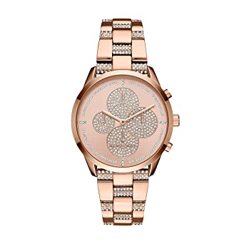 Michael Kors Womens Slater Analog-Quartz Watch with Stainless-Steel Strap, Rose Gold