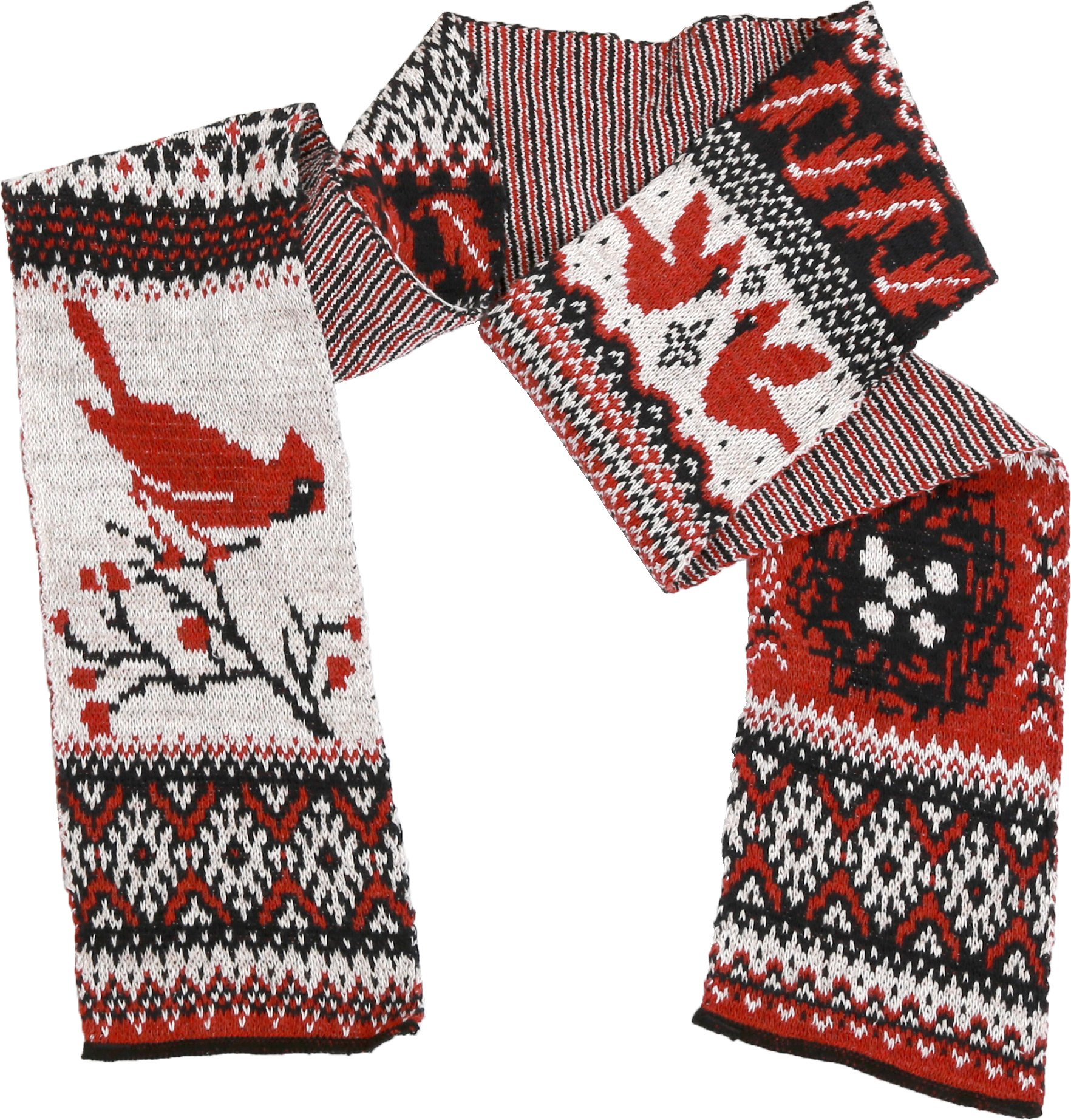 Green 3 Fashion Sweater Knit Scarf (Red/Black Cardinal Fair Isle) - Womens Recycled Cotton Fashion Scarf, Made in The USA (One Size)