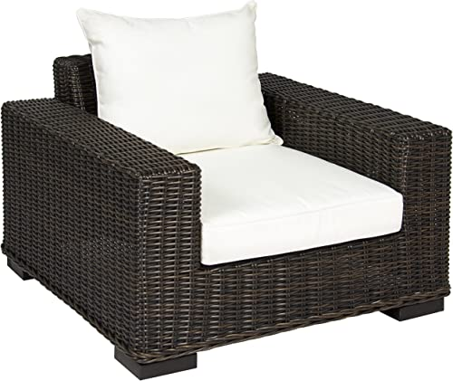 Best Choice Products Oversized Outdoor Patio Wicker Club Arm Chair w Aluminum Frame, White Cushion