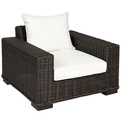 Wondrous Best Choice Products Oversized Outdoor Wicker Patio Club Arm Chair With Aluminum Frame And White Cushion Brown Ncnpc Chair Design For Home Ncnpcorg