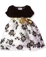 Blueberi Boulevard Baby Girls' Stretch Velvet Flocked and Glitter Over Netting Holiday Dress, Black