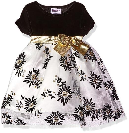 dbe106cab9 Amazon.com  Blueberi Boulevard Baby Girls  Stretch Velvet Flocked and  Glitter Over Netting Holiday Dress
