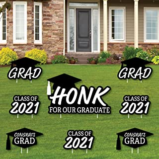 product image for Big Dot of Happiness Honk for Our Graduate - Yard Sign and Outdoor Lawn Decorations - Class of 2021 Graduation Party Yard Signs - Set of 8