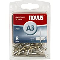 Novus Aluminium klinknagels 8 mm, 30 klinknagels, Ø 3 mm, 4,0-5,5 mm klemlengte, voor non-ijzer metaal, kunststof…