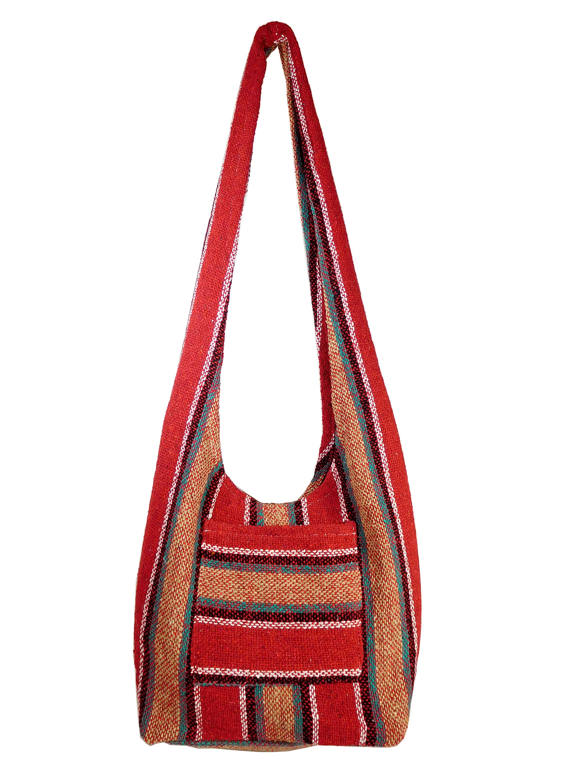 Hippie Bag Cross-Body Baja Sling Bag in Classic Baja Jacket Fabric. For Men or Women. Large and Comfortable. (Penasco Red 4) by El Paso Designs