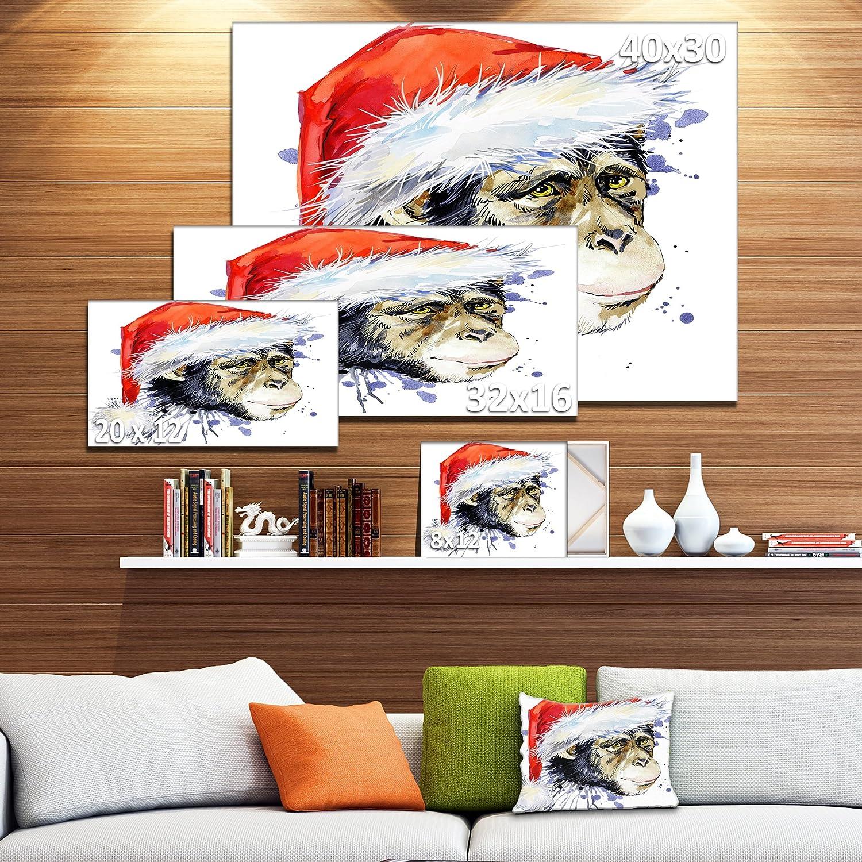 32x16 Designart Monkey Santa Clause-Animal Canvas Artwork-32x16 Red