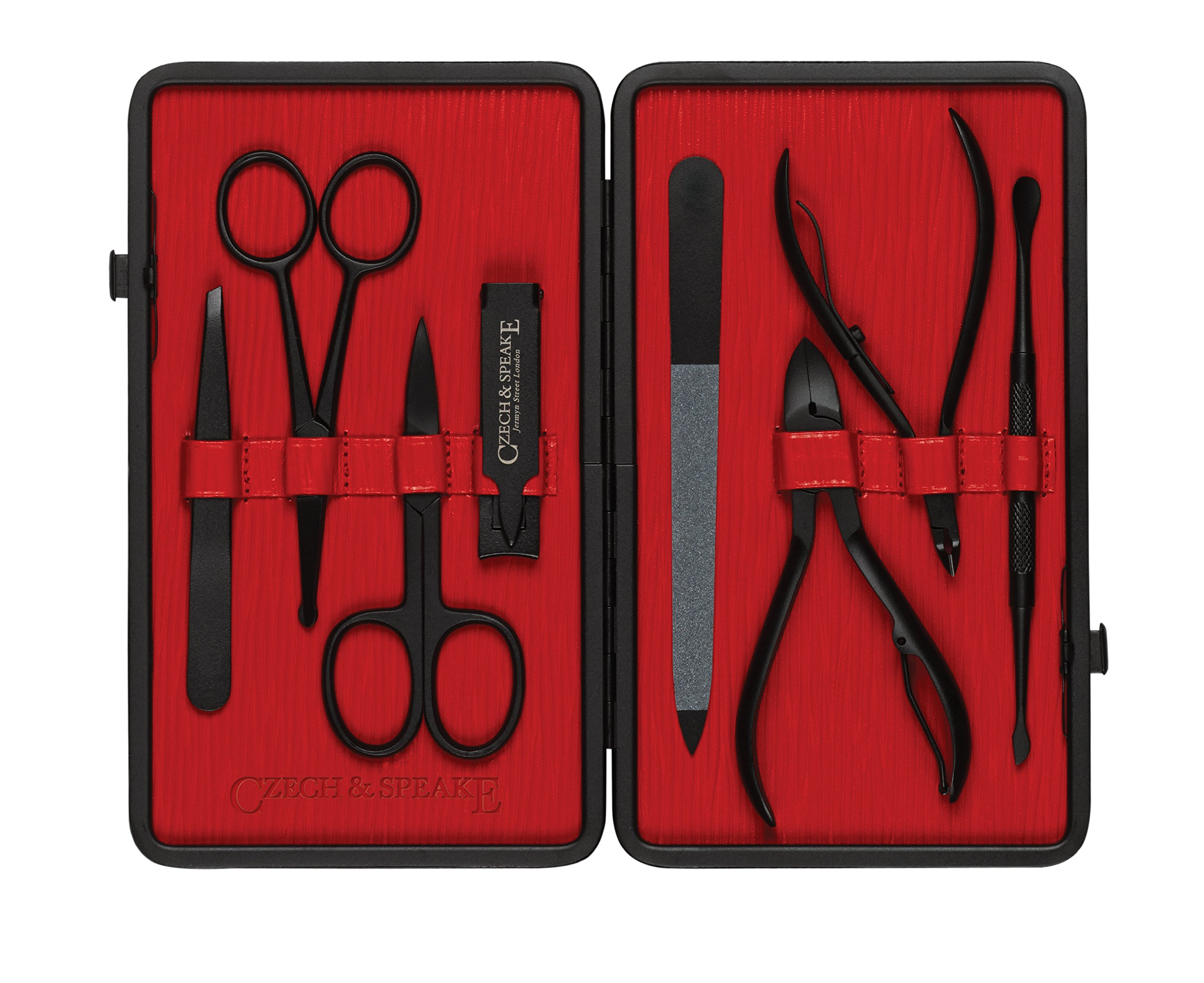 Czech and Speake Manicure Set - Black/Red