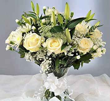 Anniversary flowers delivered large deluxe white rose lily fresh anniversary flowers delivered large deluxe white rose lily fresh flower bouquet free uk mightylinksfo