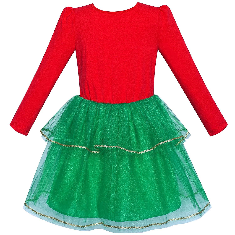 Sunny Fashion Robe Fille No/ël Chapeau de p/ère No/ël Manche Longue Partie Habiller 6-12 Ans