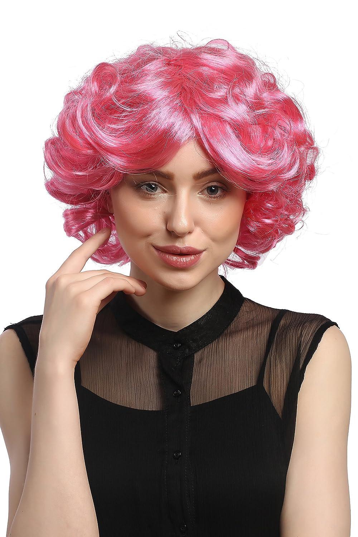 WIG ME UP ® - DEC31-PC28/41 Peluca señoras Cosplay Carnaval cortos rizos rosa pink voluminoso Popstar 80: Amazon.es: Juguetes y juegos
