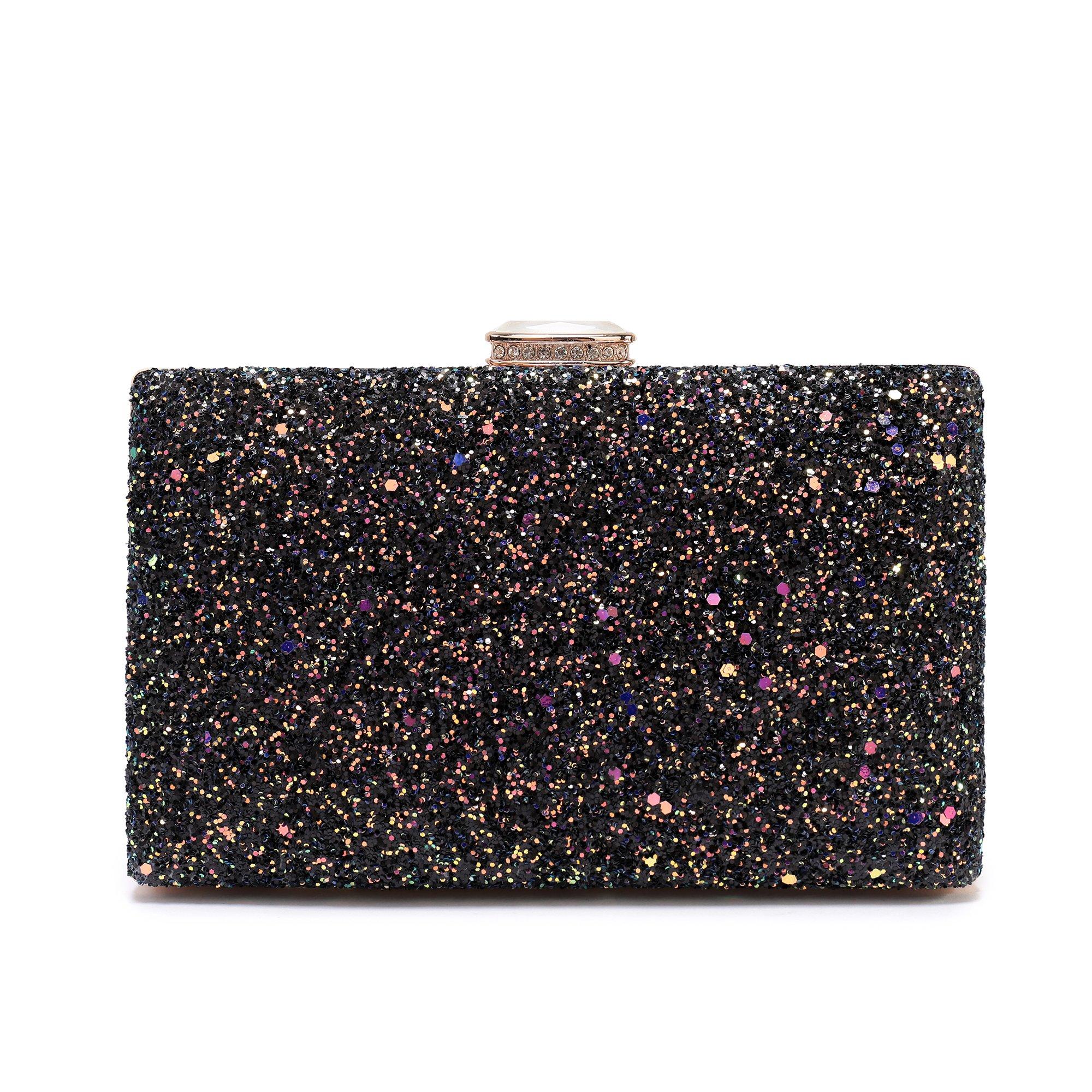 Women's Elegant Sparkling Glitter Evening Clutch Bags BlingEvening Handbag Purses For Wedding Prom Bride(Black)