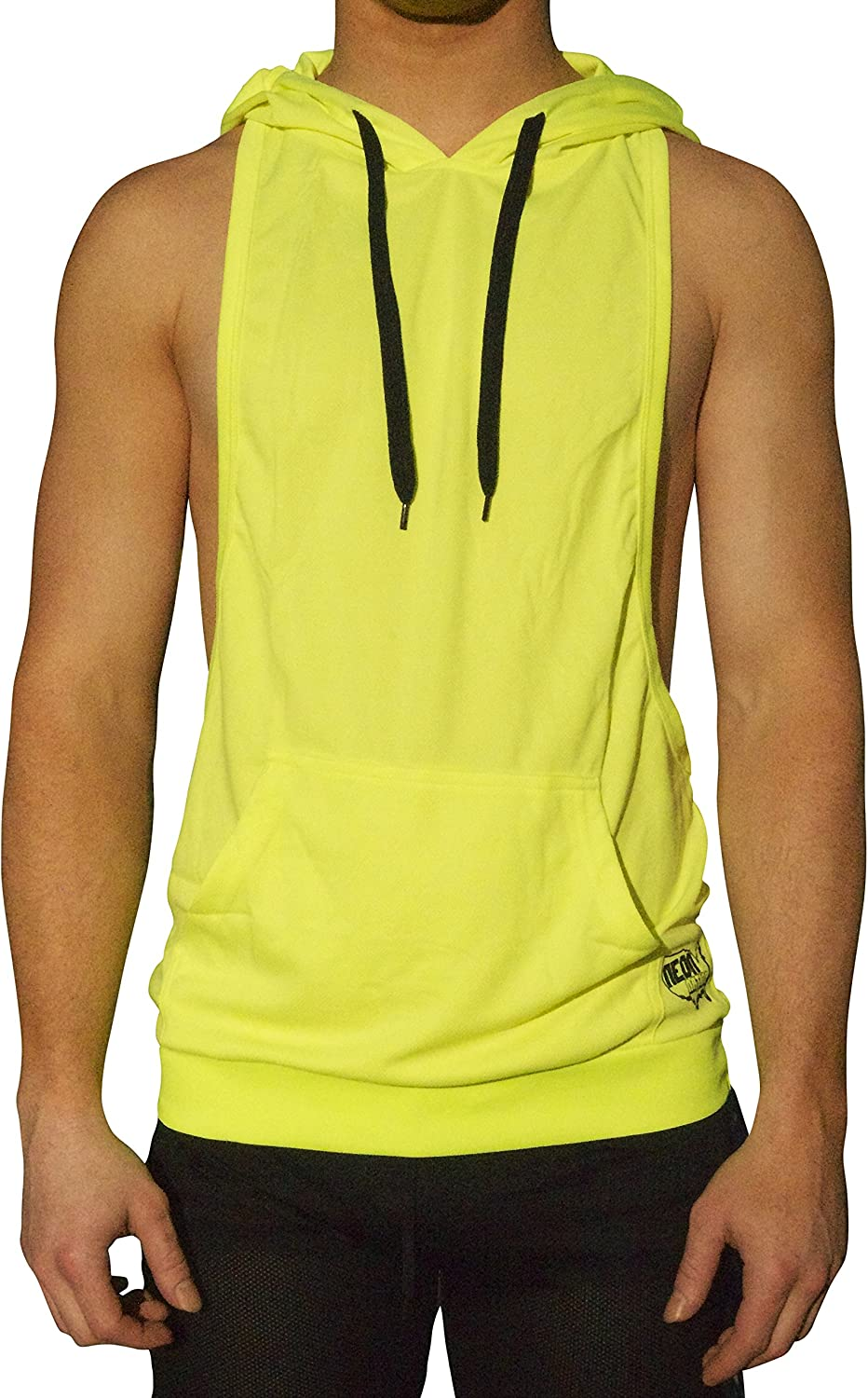 NeonNation Mens Muscle Cut Athletic Bodybuilder Stringer Tank Top Hoodie