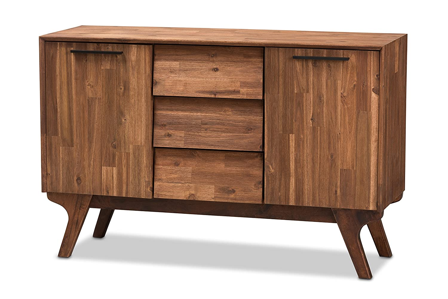 Baxton Studio Serena Mid-Century Modern Brown Wood 3-Drawer Sideboard Wholesale Interiors 142-424-7648-AMZ