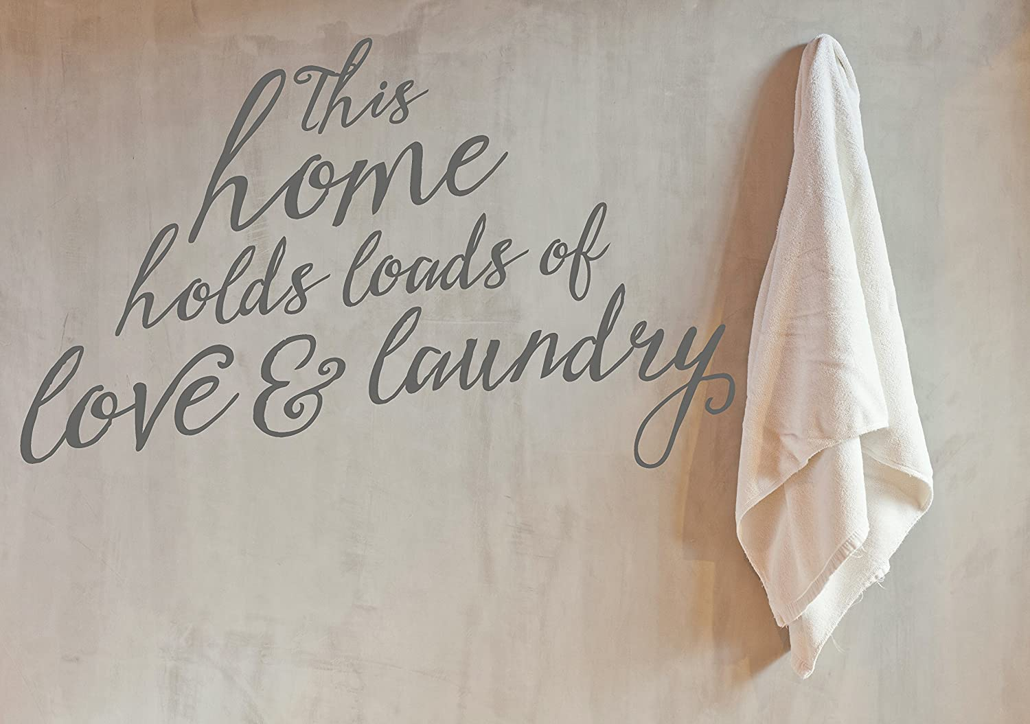 Storm Gray 35 x 21-Inch Wall Decor Plus More WDPM3374 This Home Holds Loads of Love and Laundry Wall Decal Large Lettering Sticker Quote