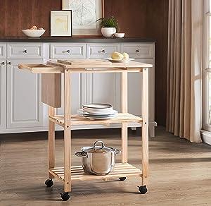 Amazon Brand - 2L Lifestyle Costal Wood Kitchen Cart, Small, Natural