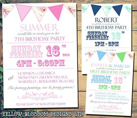 Personalised childrens birthday invitations printed invites boy girl personalised childrens birthday invitations printed invites boy girl joint party twins unisex bunting shabby chic 1st filmwisefo