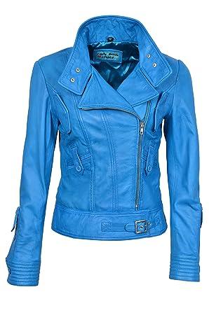 Smart Range Chaqueta de Piel para Mujer .Supermodel, Color Azul Celeste, Estilo Motero, Casual, Piel de Oveja.: Amazon.es: Deportes y aire libre