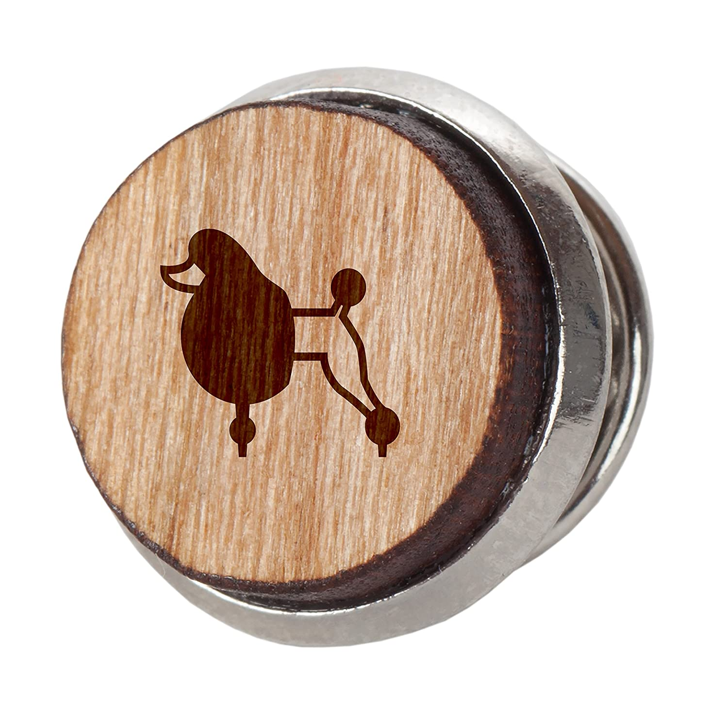 Poodle Stylish Cherry Wood Tie Tack Engraved Tie Tack Gift 12Mm Simple Tie Clip with Laser Engraved Design