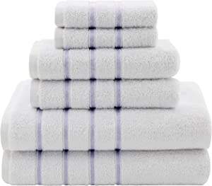 Dorlion Towels, 6 Piece Striped Towel Set, 100% Turkish Cotton Plush, High Absorbent, Super Soft, Quick Dry Turkish Towel Set for Bathroom, Lilac Blue