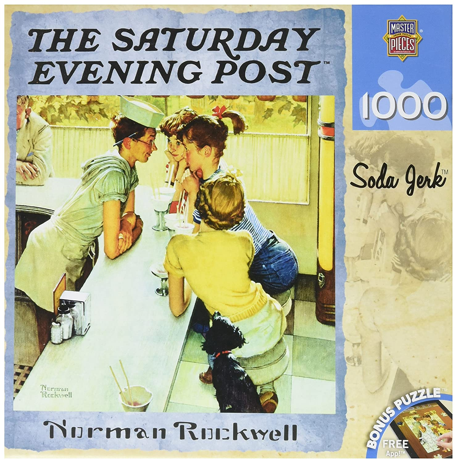 MasterPieces Saturday Evening Post Soda Jerk Jigsaw Puzzle, Art by Norman Rockwell, 1000-Piece