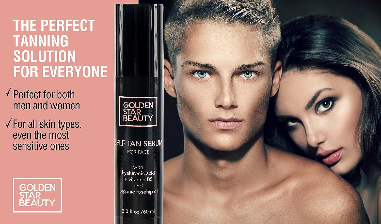 e26dd47e49b09 Amazon.com  Self Tanner For Face - Anti Aging Sunless Tanning Serum  w Hyaluronic Acid Organic Oils   Vitamin B5 - Non Comedogenic Fake Tan  Facial Bronzer ...