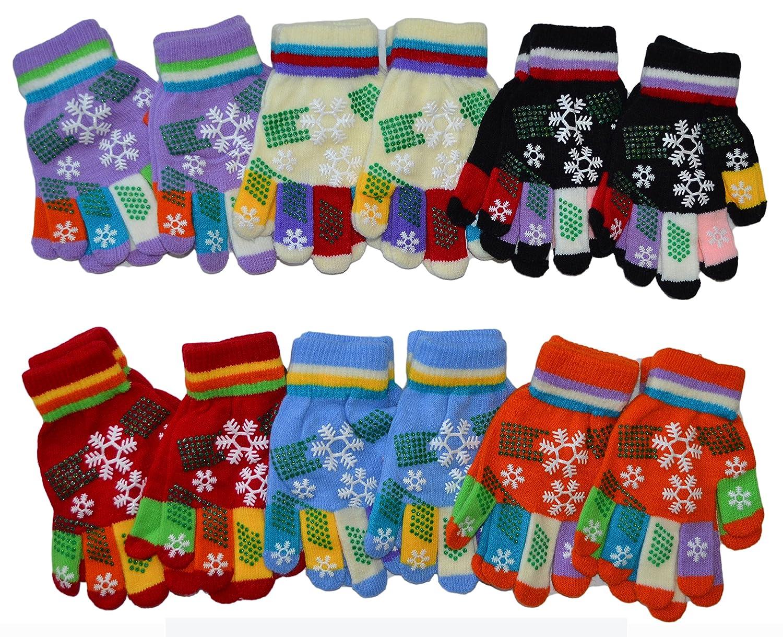 OPT Brand. 12 Pairs Kids Magic Grabber Gloves Children Knit Multi Colors Snowflake Christmas Gloves Wholesale. G9112-ASST