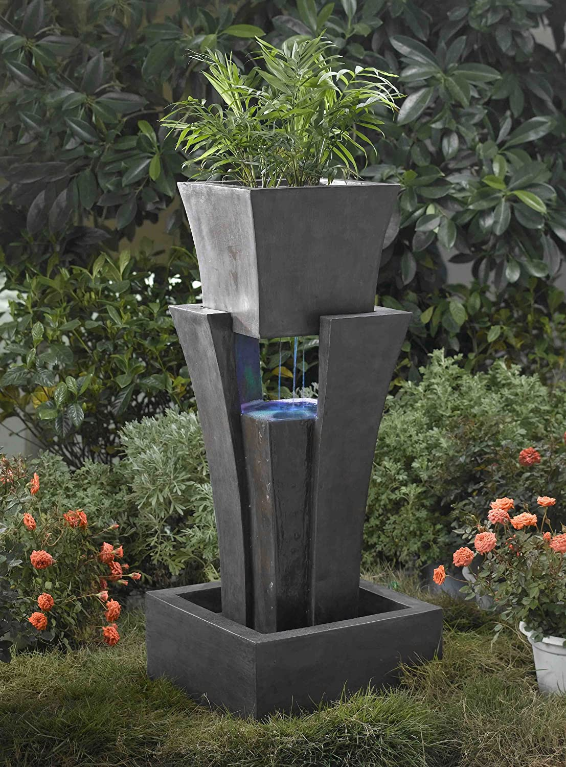 Amazon.com : Raining Water Outdoor/indoor Fountain With Planter With Led  Light : Free Standing Garden Fountains : Garden U0026 Outdoor