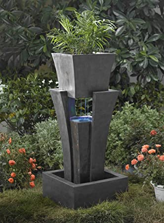 Incroyable Raining Water Outdoor/indoor Fountain With Planter With Led Light