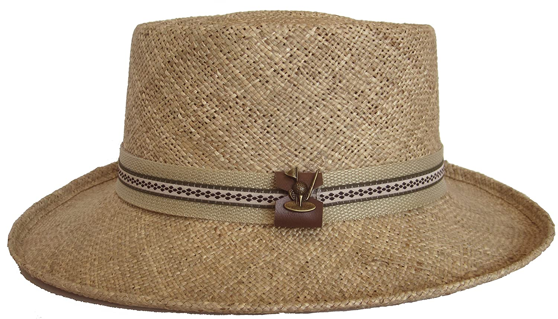 f2374387a7b25 Amazon.com  Paper Straw Gambler Wide Brim 2 Tone Golf Hat (Natural Black Golf  Band)  Clothing