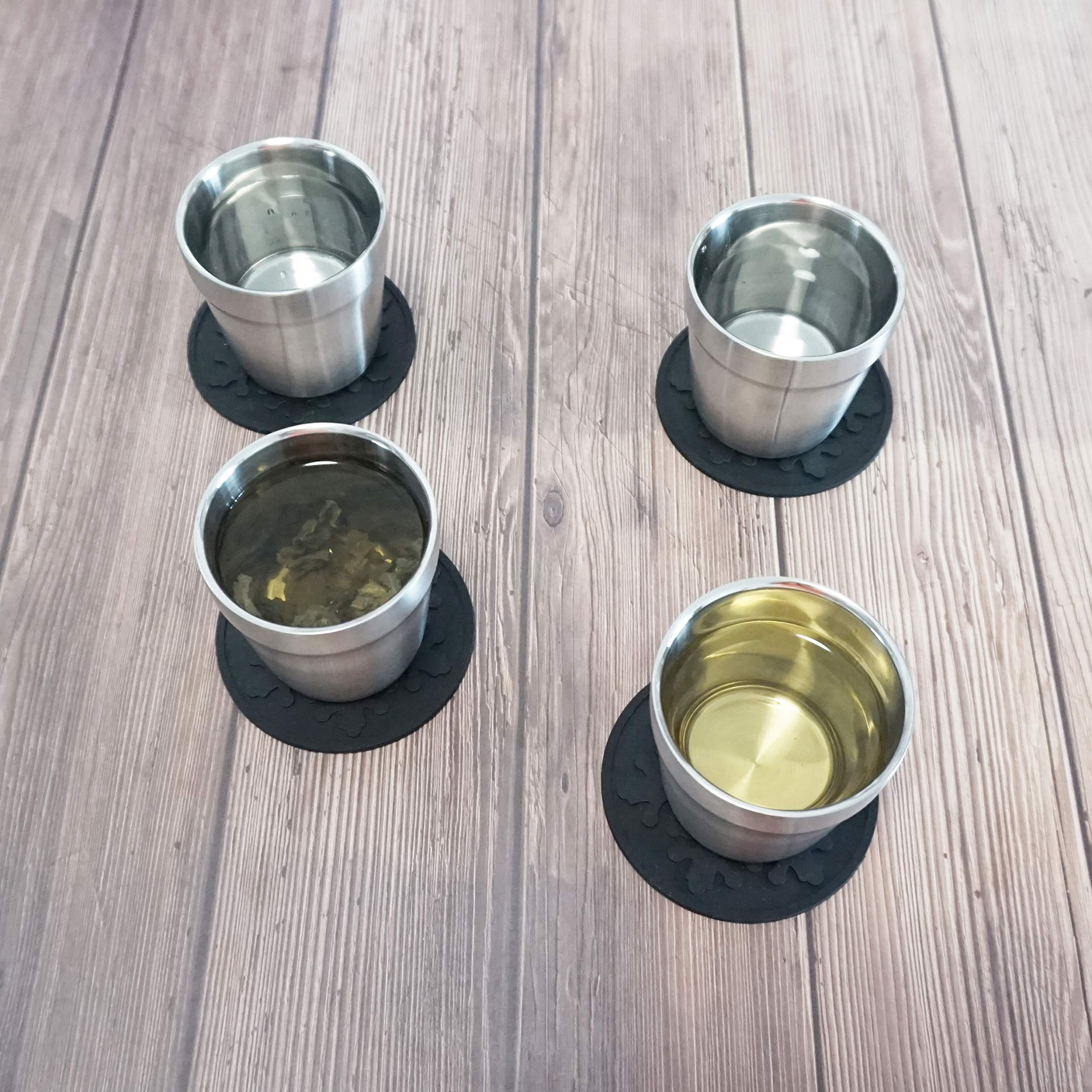Stainless Steel Double Walled Cups (4 Piece)+Silicone Coaster(4 Piece) Stackable, Brushed Metal Drinking Glasses, Coffee Cup/Tea Cup/Chilling Beer Glasses, For Home&Outdoor, 6 oz(175ml)