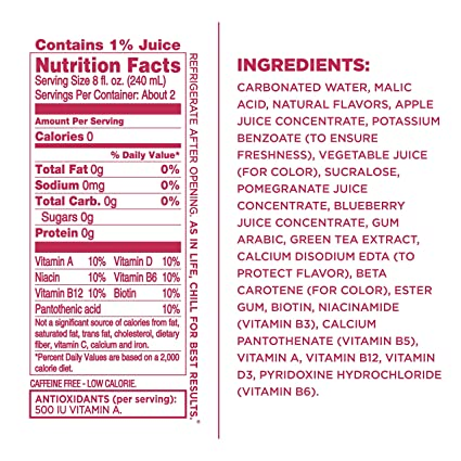 Amazon Sparkling Ice Pomegranate Blueberry Water With Antioxidants And Vitamins Zero Sugar 17 Ounce Bottles Pack Of 12