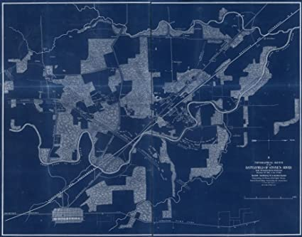 Amazon com: 18 x 24 Blueprint Style Reproduced Old Map